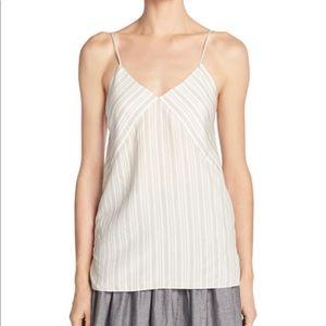 Vince Monotone Striped Silk V-Neck Camisole Large
